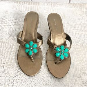 Predictions Copper Sandal With Turquoise Jewel